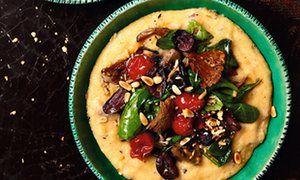 Photograph of Yotam Ottolenghi's parmesan polenta with mushrooms and black olives