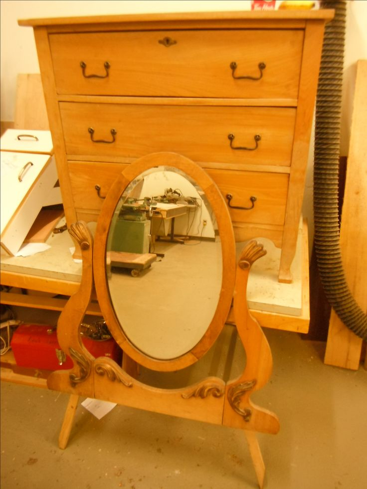 as found left as garbage pick up, 3 drawer dresser with mirror in solid oak.