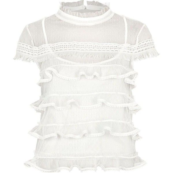 River Island White dobby mesh cap sleeve frill top ($60) ❤ liked on Polyvore featuring tops, blouses, white, women, see through tops, lace trim cami, cami top, white cami top and mesh top