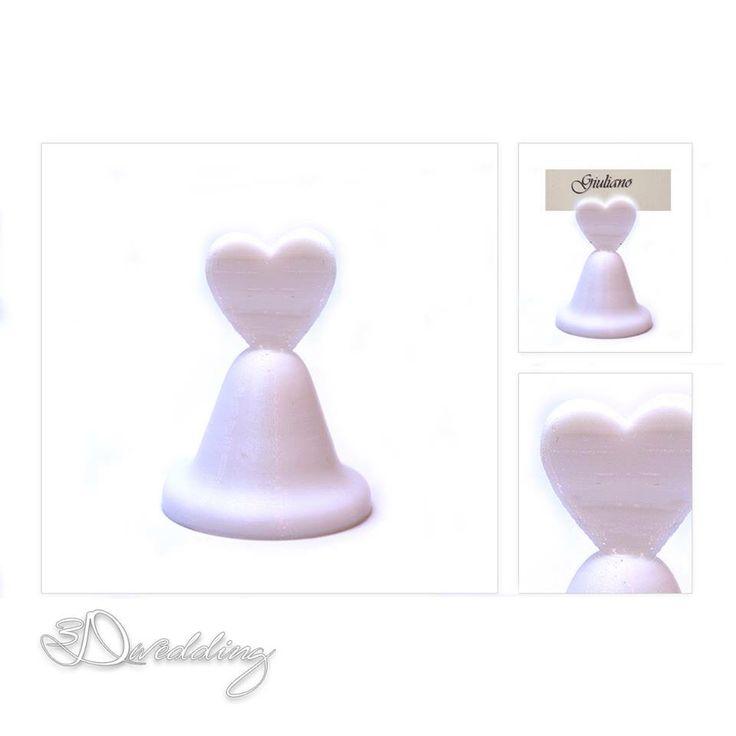 #heartbell #segnaposto #matrimonio. Un simpatico ricordo per gli invitati da utilizzare come #portafoto. Finalmente un #regalo utile dal #design non convenzionale! #3Dwedding #sposi #weddingideas