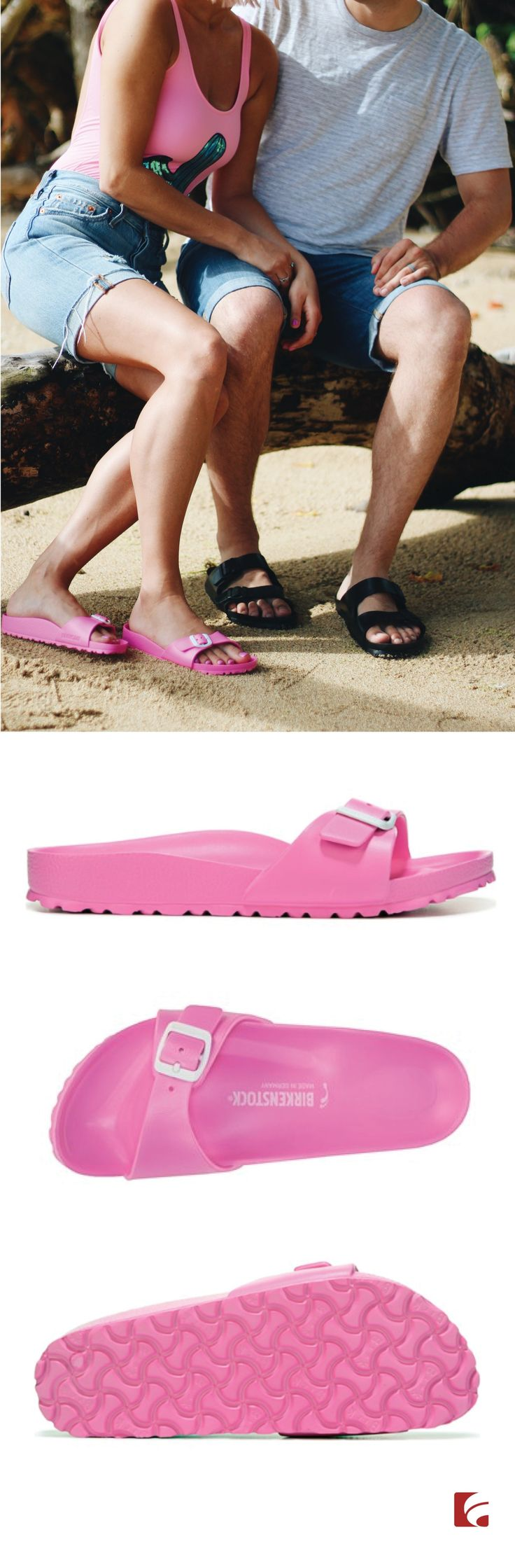 Say hello to easy, beachy summer style in the Birkenstock Essentials Madrid Sandal! @MadamAndrews rocks her pink Madrid Sandals while lounging on the beach in Hawaii. This waterproof sandal has an EVA upper in slide sandal style with an open toe, as well as adjustable instep strap with a buckle closure. The Madrid also features Birkenstock's signature molded footbed for all-day comfort. Grab all 7 colorful shades of the Madrid this summer!