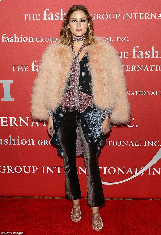 Fur goodness sake! Olivia Palermo rocked the soiree in an extravagant fluffy salmon pink coat