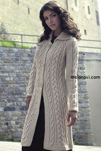 Пальто с косами/ Cream knitted cable long coat