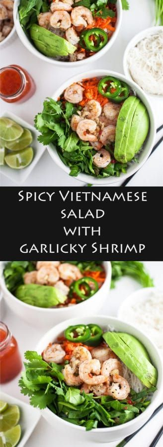 Spicy Vietnamese Salad with Garlicky Shrimp - A tangy and spicy Vietnamese salad recipe that's loaded with flavor and topped with plenty of fresh vegetables plus lots of garlicky shrimp!