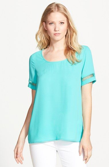 Pleione Cutout Short Sleeve Woven Top available at #Nordstrom