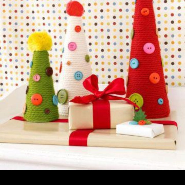Styrofoam Cones Colored Yarn And Old Buttons Cute Christmas Ideas