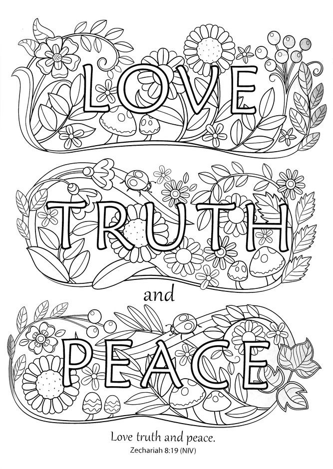 854 Best Words Coloring Pages For Adults Images On
