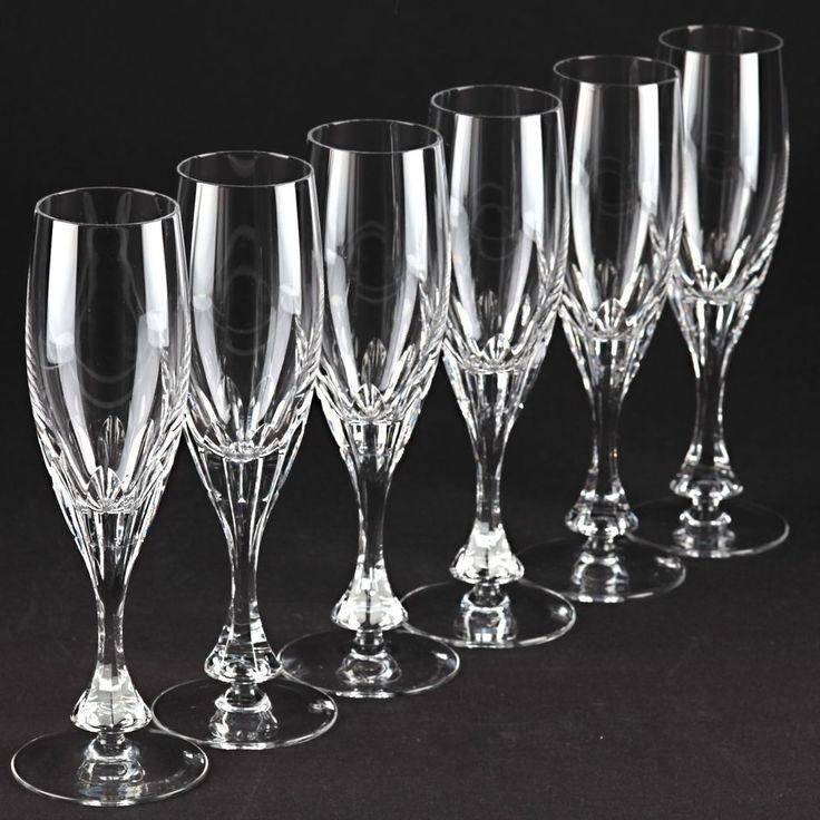 6 schöne Vintage Sektgläser Sektkelche Schliff Kristall Glas 20 cm W7E