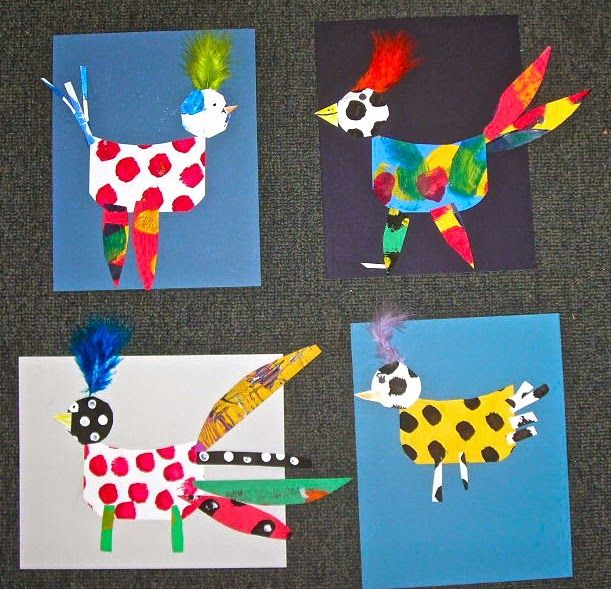 Fine Lines: 1st Grade  Rooster's Off to See The World. Chagall's rooster