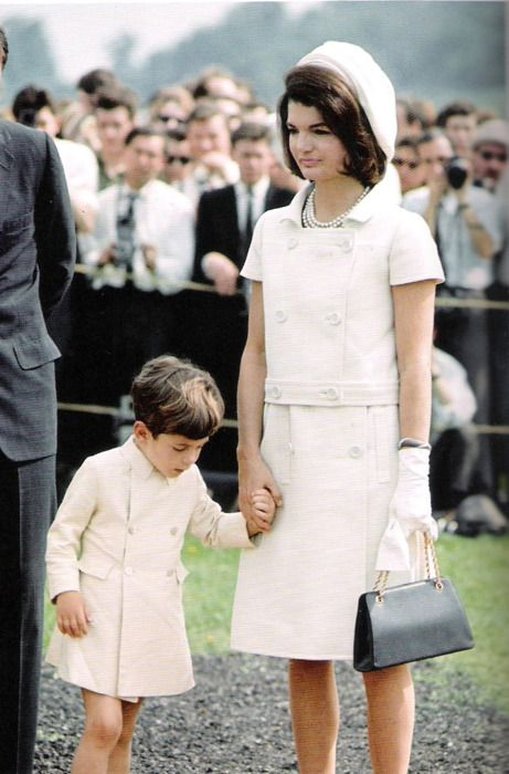 Jackie Kennedy in Givenchy when meeting HM the Queen at the dedication of the JFK memorial at Runnymede, England.