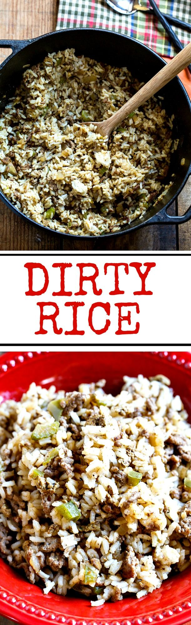 "Dirty Rice is a spicy and flavorful Cajun rice dish made from white rice. It gets its ""dirty"" color from finely chopped chicken livers and ground beef or pork."