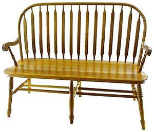 Paddle Back Deacons Bench With Arms 38b Amish Furniture