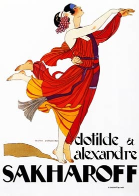 Sakharoff, 1921 French poster by Georges Barbier of Ukrainian dancer and choreographer Alexandre with German wife Clotilde