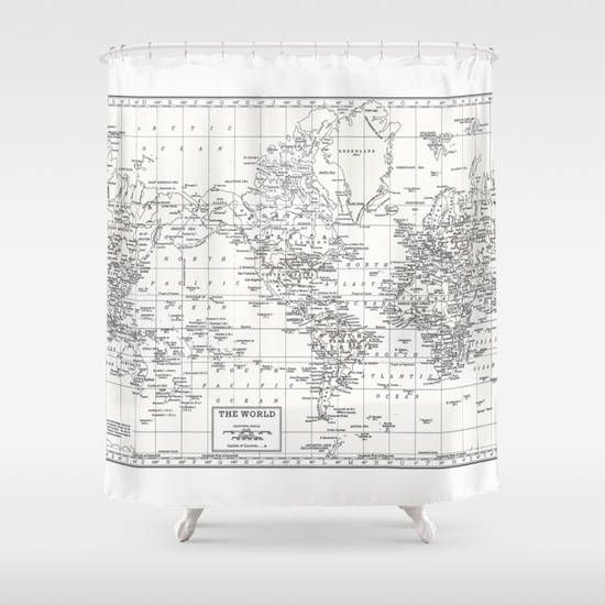 White World Map Shower Curtain  Historical map  white and