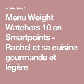 Menu Weight Watchers 10 en Smartpoints - Rachel et sa cuisine gourmande et légère