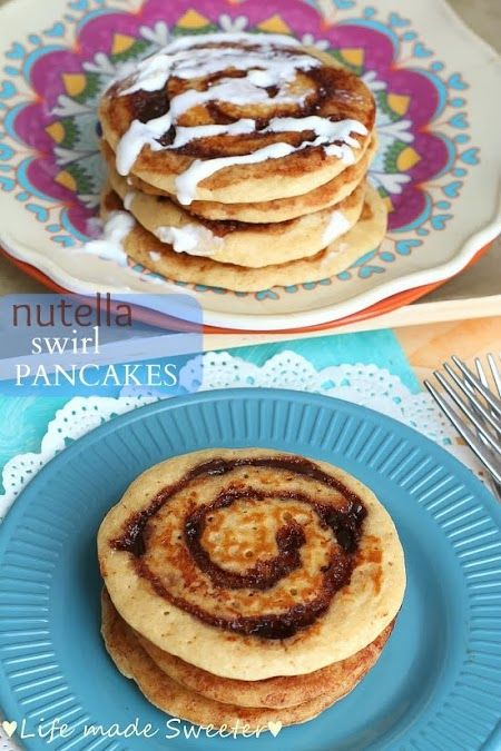 Nutella Swirl Pancakes - fluffy and delicious pancakes with a Nutella swirl makes breakfast extra special. Perfect for brunch.