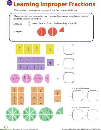 Worksheets: Introduction to Improper Fractions #1