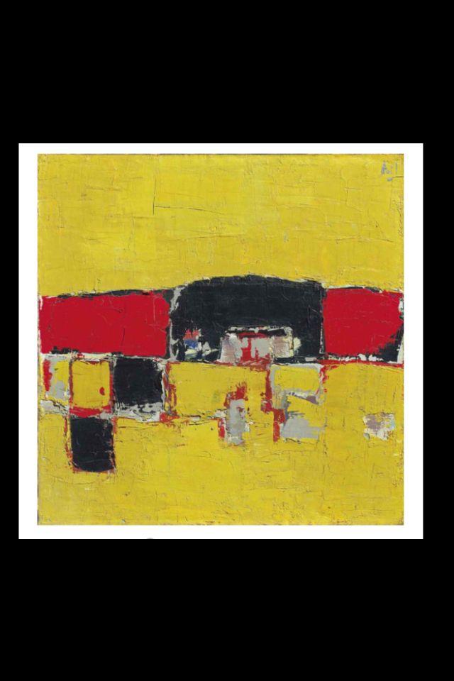 """Nicolas De Staël - """"Paysage (Composition rouge et noire sur fond jaune ou…"""