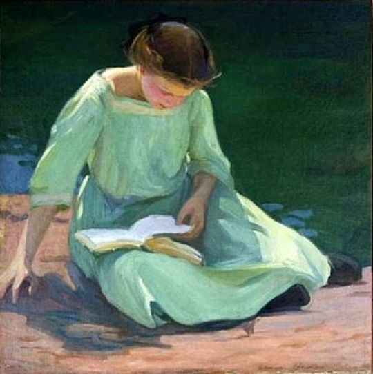 The Green Dress. Elanor Colburn (American, 1866-1939).  Colburn studied with William Merritt Chase and Frank Duveneck and attended the Art Institute of Chicago, where she later taught. Moving to Laguna Beach from Chicago around 1924, Elanor Colburn brought with her an understanding of modern European art. She and her daughter, Ruth Peabody, built a studio in Laguna Beach on South Coast Highway where they lived, painted, and taught.
