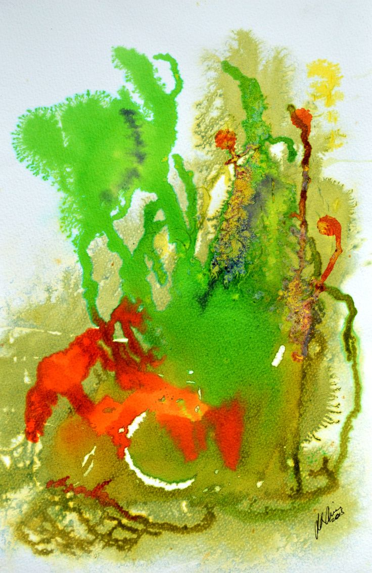 Rainbow Sprouts is a watercolor and ink abstract on wet cold pressed paper. For more works see rloliverartist.com.