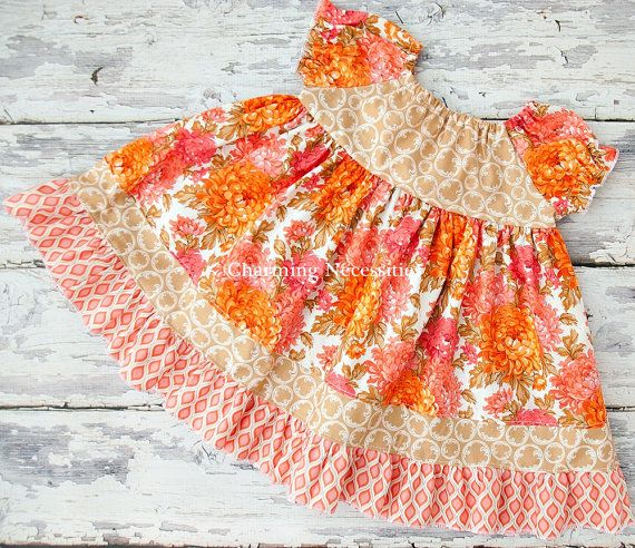 Fall Festival Peasant Dress Orange Coral by CharmingNecessities, $45.00