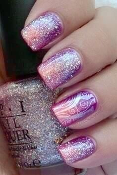 Purple to pink gradient with glitter and swirls overlay