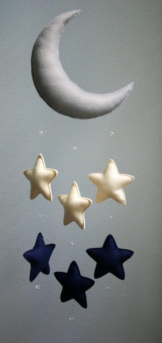 Modern Baby - Navy Blue, Gray, Ivory Moon Felt Mobile w/ Falling Stars & Crystal Beads