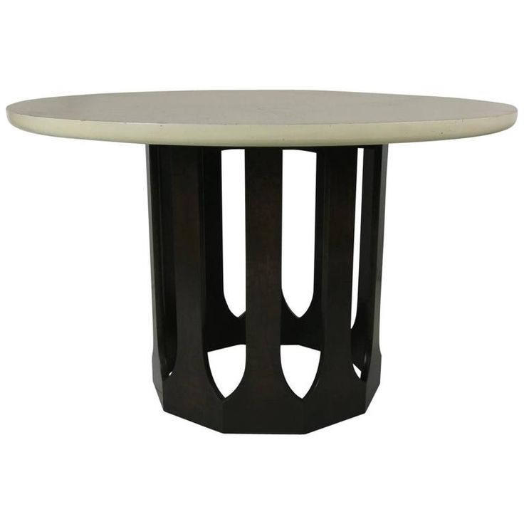 Mahogany Dining Table with Travertine Top by Harvey Probber 1