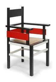 Mondrian furnishings.  geometrical, red siding.