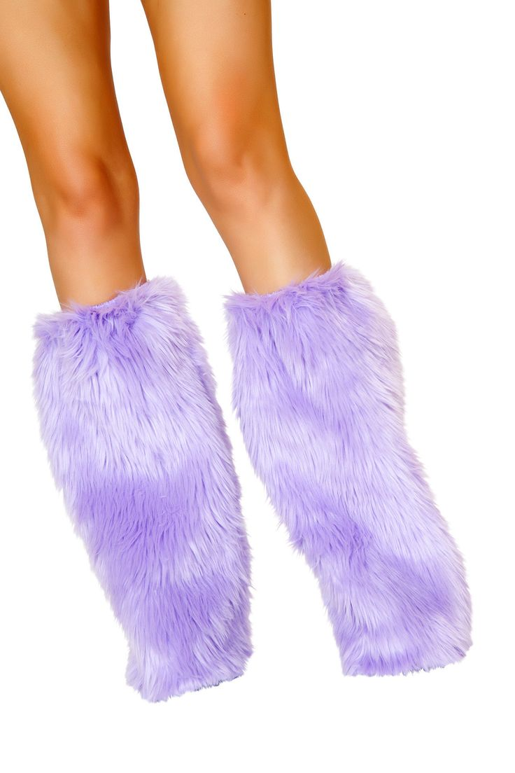 Lavender Faux Fur Leg Warmers