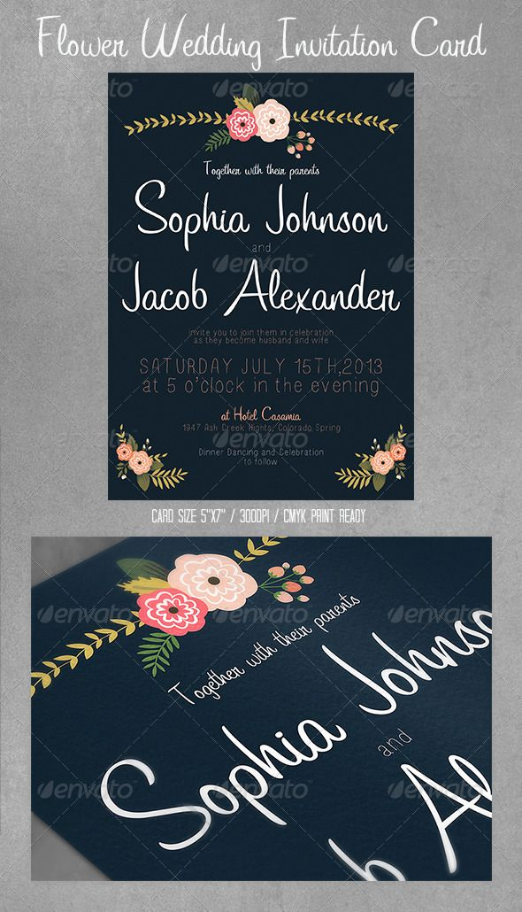 free wedding invitation psd%0A Flowers Wedding Invitation Card   Postcard  GraphicRiver u       u   dx  u   d  u       Color