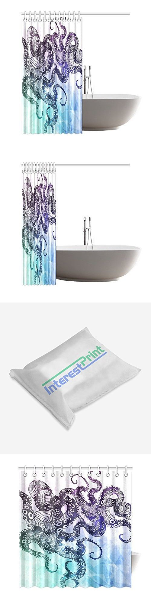 InterestPrint Hipster Octopus Custom Shower Curtain 69 X 72 Inches Waterproof Polyester Fabric Bathroom Sets Home Decor