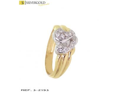 1-3-2193-1-Anillo oro bicolor 18Kt. con diamantes.