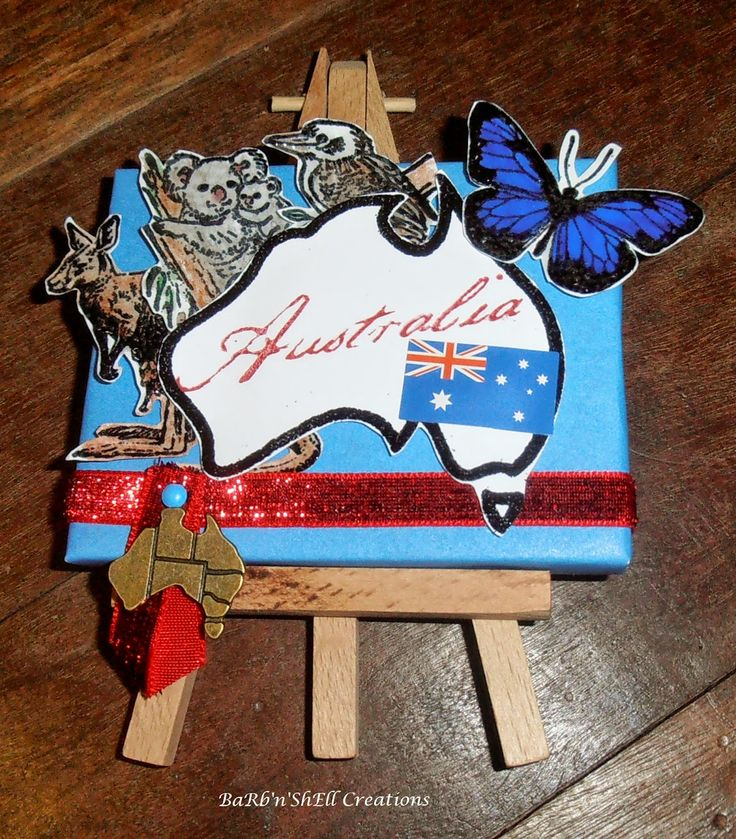 BaRb'n'ShEllcreations - Mini Australia themed Canvas - made by Shell