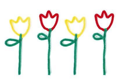 Tulpen aus Pfeifenputzern - Pfeifenputzer-Projekte PDF  Zum Herunterladen: Schritt-für-Schritt-Anleitungen für 15 verschiedene Figuren aus Pfeifenputzern