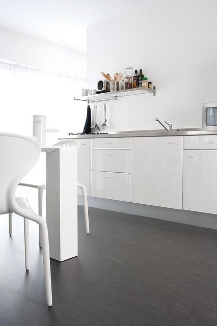 Delightful Cork Flooring, Loving The Dark Against White Photo Gallery