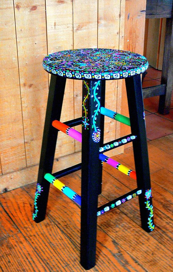 Funky  Hand Painted Stool by dannimacstudios on Etsy, $250.00