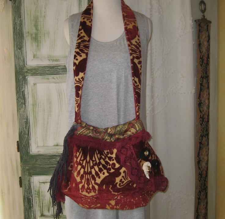 Gypsy Bohemian Purse and Bag Hippie Crossbody Burgandy Chenille Boho Purse. $76.00, via Etsy.