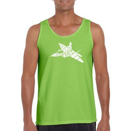 Los Angeles Pop Art Men's Tank Top - Fighter Jet - Need For Speed, Size: Medium, Green