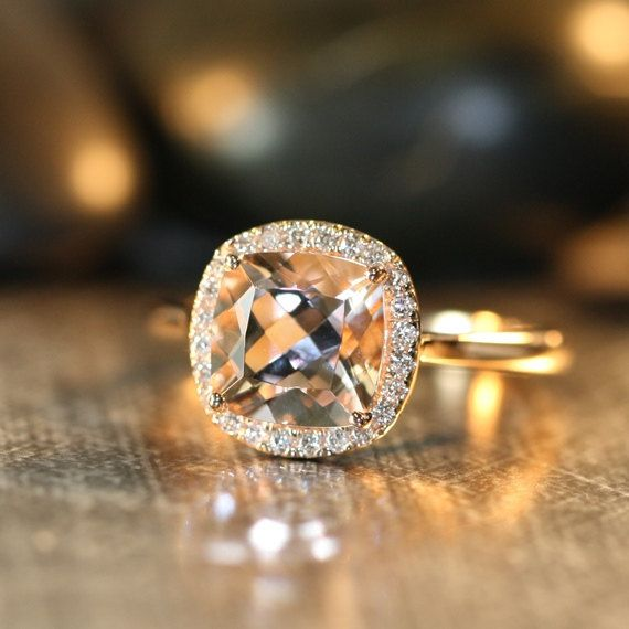 Natural Morganite Engagement Ring 14k Rose Gold 8x8mm Cushion Peach Apricot Morganite Ring Halo Diamond Ring (Custom Made Ring ok)