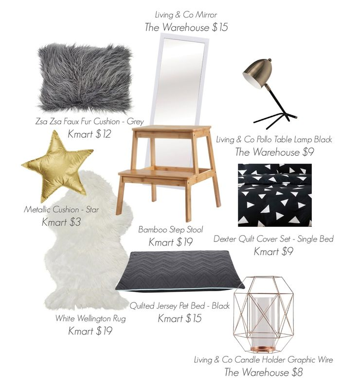 Mood Board for New Zealand Kmart and The Warehouse. Boys bedroom mood board, black, white, grey, gold.