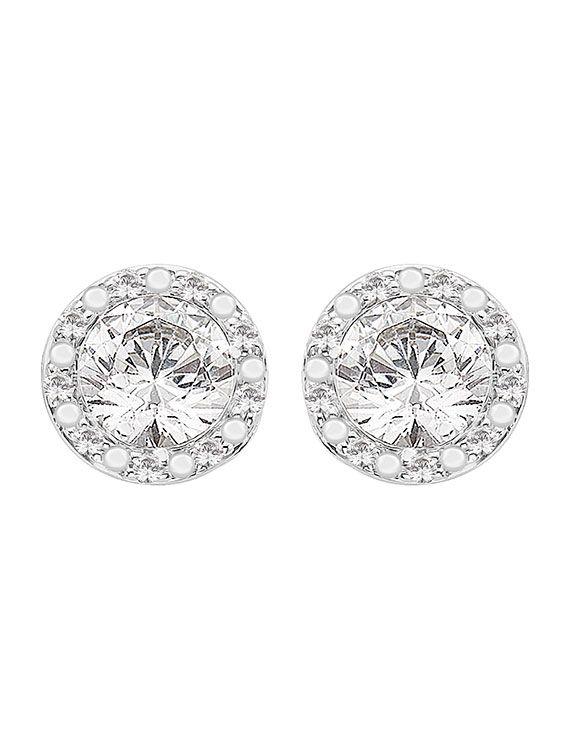 Rhodium Finished Silver & Swarovski Zirconia Stud Earrings