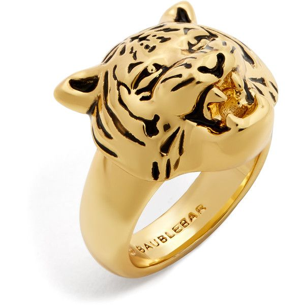 BaubleBar Jaguar Ring ($42) ❤ liked on Polyvore featuring jewelry, rings, baublebar jewelry, animal print ring, statement rings, cocktail rings and animal print jewelry