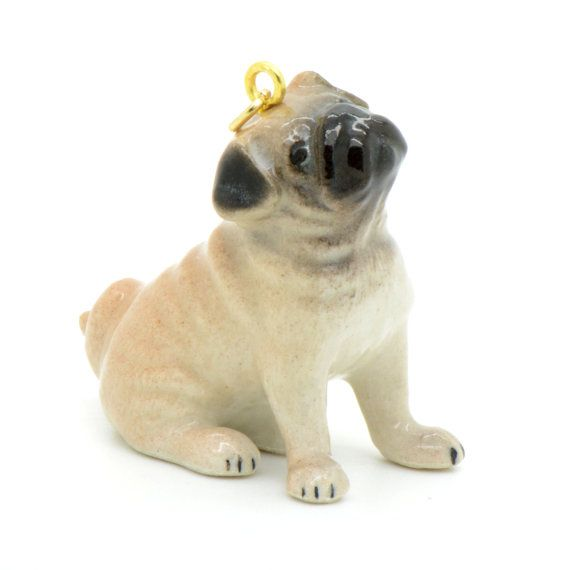 1 - Porcelain Pug Dog Hand Painted Glaze Ceramic Animal Small Pug Dog Bead Vintage Jewelry Supplies Little Critterz Porcelain