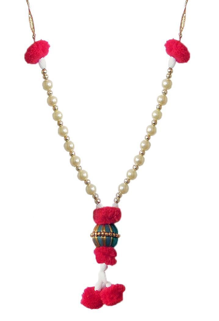 Bead Garland with Red Woolen Balls (Beads)