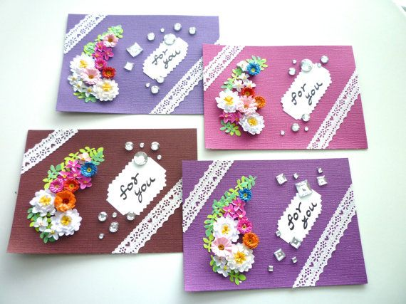4 x cards set of Paper quilling Flower card for you by ByAzalea