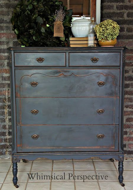 A lovely dresser finished in Graphite Chalk Paint® decorative paint by Annie Sloan | By Laura Bright of Whimsical Perspective