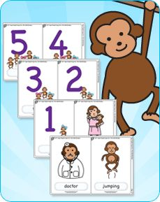 teaching resources for five little monkeys from super simple - Coloring Pages Monkeys Jumping Bed