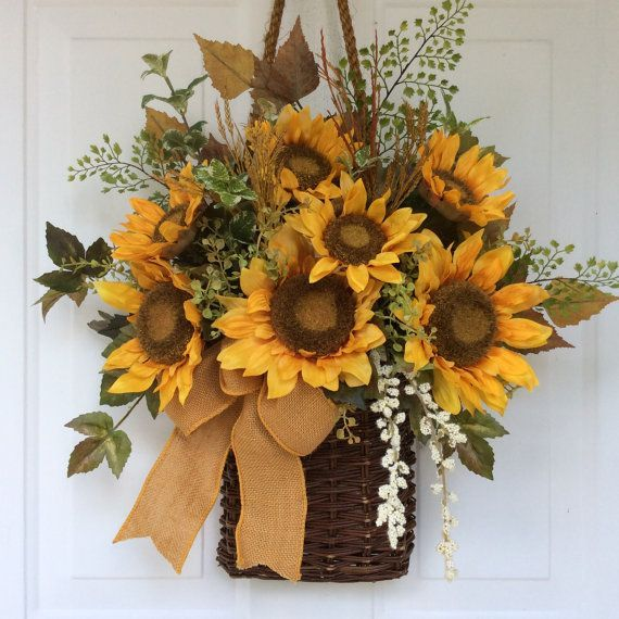 Fall Wreath For Front Door Sunflower Basket Sunflower Wreath Fall Door  Basket Rustic Wreath Country Wreaths Farmhouse Wreath Autumn Wreaths