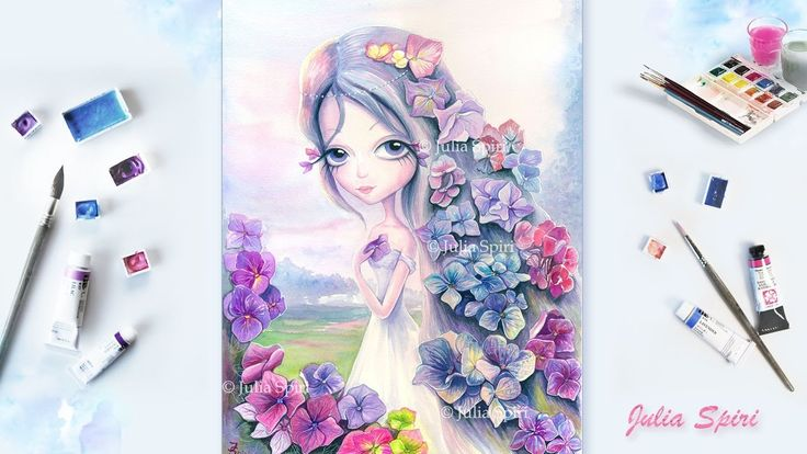 Watercolor Painting ✓ Speed Painting.  ✿Hydrangea✿ Acuarela #watercolor #video #speedpainting #art #painting #watercolour